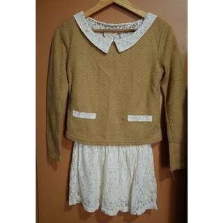 Khaki and White Mori Dress