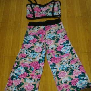 Floral Crop top and square pants