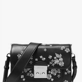 美國專櫃 MICHAEL KORS Sloan Editor Embroidered Leather Shoulder Bag