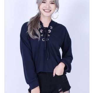 Black lace up hoodie