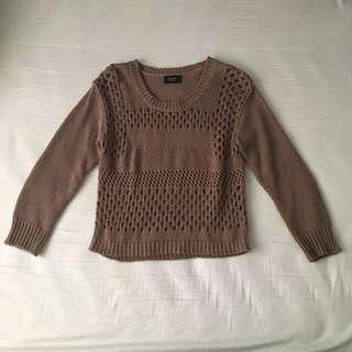 Bardot Crochet Cropped Sweater
