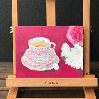 Royal Albert Teacup Oil on Canvas 7x9""