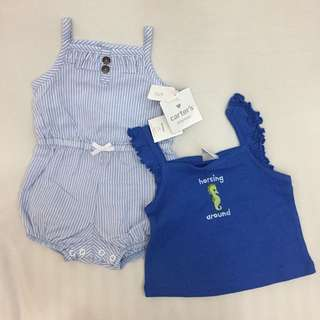 Carter's romper + gymboree top set