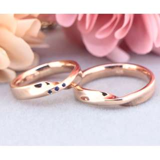 AUTIUM XK Rose gold Twisted wire Wedding band, Anniversary ring, Couple ring, 925 silver