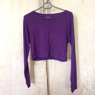 Purple Long Sleeve Crop Top