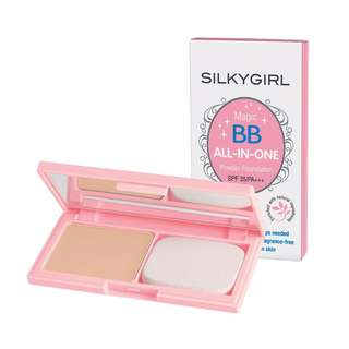 <FREE DELIVERY> SilkyGirl Makeup Magic BB All In One Matte Finish Shine Control Foundation Flawless Finish Powder Cake - In Shade 01 Ivory