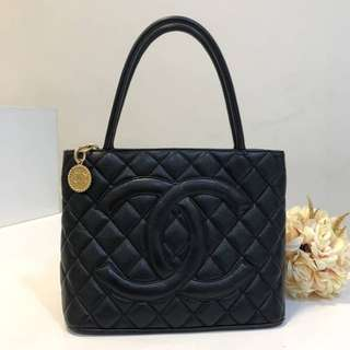 Authentic Chanel Medallion Black Ghw