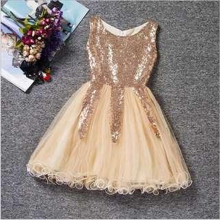Gold Sequin Princess Dress