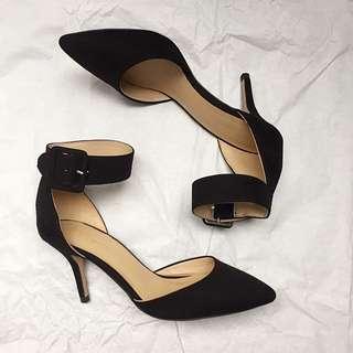 Zara Ankle Strap Pointed Toe Heels In Black Suede