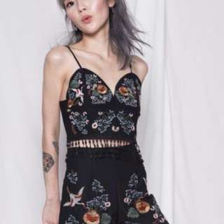 YHF Embroidered Two Piece Set in Black