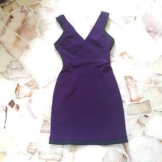 Purple V neck dress