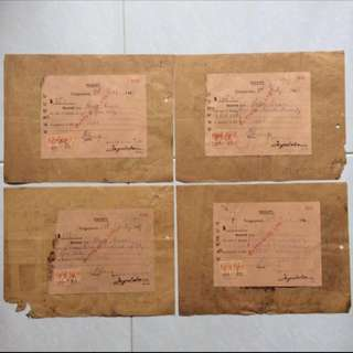 Old / Vintage Invoices & Receipts - Set of 4 pieces with 2 Malaya Stamps each Dated 1947 (each set $6 or all 4 for $20)