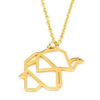 Silverworks 18k Gold Plated Origami Elephant Necklace
