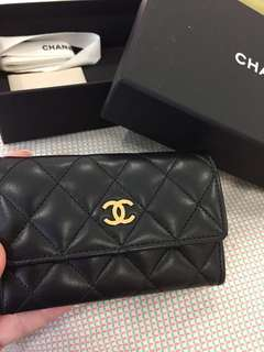 Chanel card holder wallet lambskin in Black