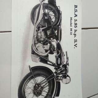 Jual poster BSA M10 jadul