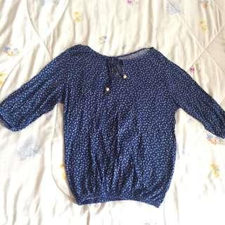 Blue Elbow Cut Shirt