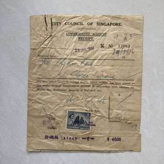 Vintage Old Receipt - Singapore 1956 City Council Receipt with 6 Cent Singapore Malaya Stamp