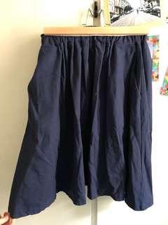 Navy skirt with pockets 深藍有口袋半截短裙