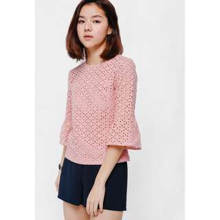 Love Bonito Esena Eyelet Bell Sleeve Top