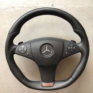 AMG flat bottom steering wheel with paddle shift