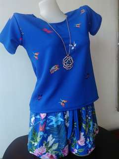Terno blue Blouse and Short