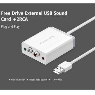 Ugreen 2 RCA USB Sound Card Audio Interface 3.5mm USB Adapter to Speaker