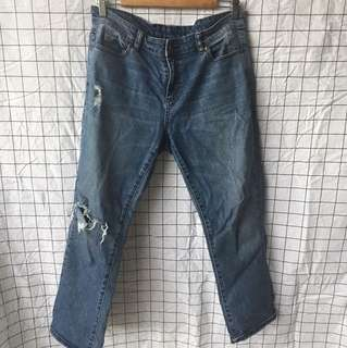 Knee rip denim jeans