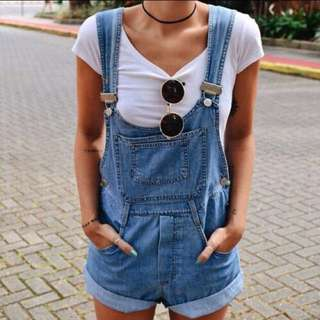 Denim dungarees/ overall shorts