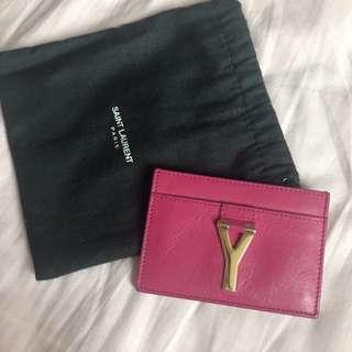 Saint Laurent YSL 桃紅色 hot pink color card holder used 原價2xxx 可小議