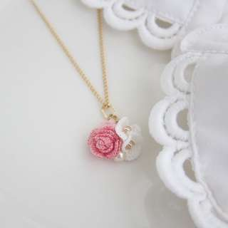 Crochet Rose necklace with 14k gold filled necklace - bridesmaid gift jewelry