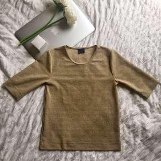 Shimmery gold Zara top
