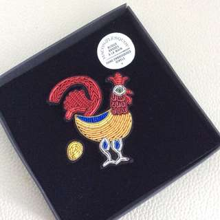 Hand Embroidered Rooster Pin