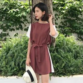 #800 harajuku contrast two toned ribbon tie dress
