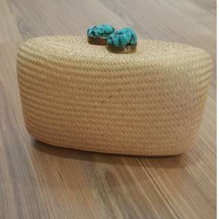 Kayu Design Handmade Clutch with Turquoise Stone