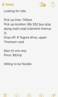 DRIVER NEEDED (clementi - upper Thomson)