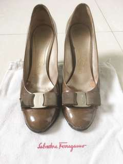 Salvatore Ferragamo Greenish Brown High Heels