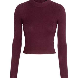 Cropped long sleeve ribbed sweater