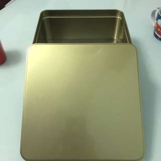 Gold metal square tin box for storing crafts