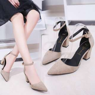 Solid Coloured Korean Style Suede Designed Pointy Buckle Heels