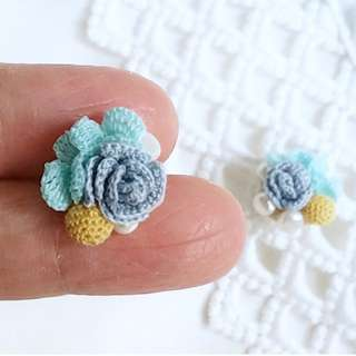 Mother's Day gift - blue rose flower earring for bridesmaid gift - maid of honor gift