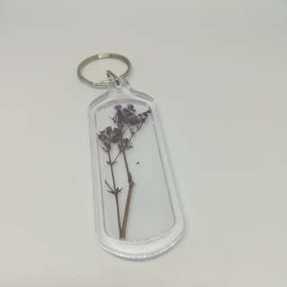 Real purple plant keychain