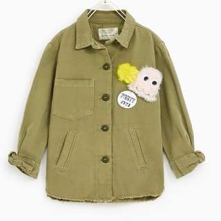 [preorder] Zara Kids (13-14yrs) Khaki Overshirt With Faux Fur Patches