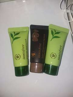 Innisfree green tea sleeping mask and Volcanic mask