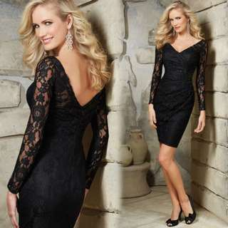 Black Lace short evening dress with long sleeve