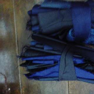 Fabric pieces-black, dark blue & dark grey
