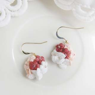 Gift for her - Pink flowers dangle earrings - bridal jewelry - bridesmaid gift