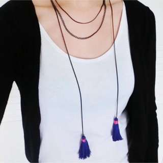 Brand new long statement dangling tassels green necklace