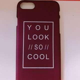 酒紅色Ip7/8手機殻包兩邊硬殻