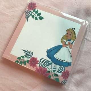 韓國🇰🇷1010購入Alice in the wonderland memo pad 愛麗絲 memo 紙