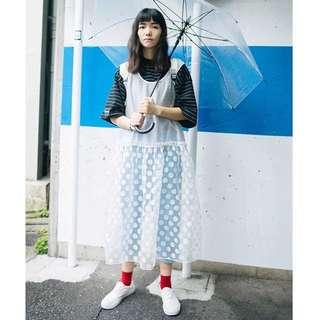 二手 日系 罩衫 透明 拼接點點 波點 無袖背心洋裝 裙子 春夏搭配